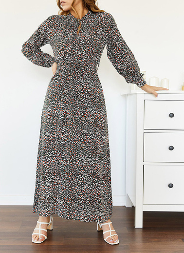 XHAN Yakası Bağlamalı Elbise 0Yxk6-43499-02 Siyah